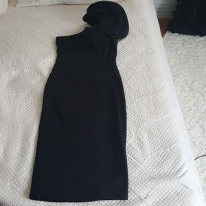 One shoulder peplum sleeve midi dress